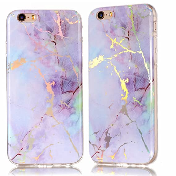 3e34c949be iPhone 6 Case,iPhone 6S Case,DAMONDY 3D Shiny Marble Glitter Ultra Thin Slim