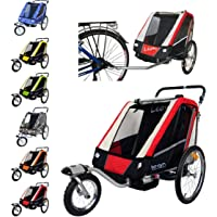 Leon Paplioshop folding bike trailer, buggy with front wheel, for 1 or 2 children, with 1 door, New Rosso