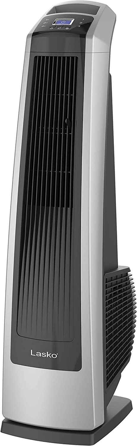 Lasko U35115 Electric Oscillating High Velocity Stand-Up Tower Fan with Timer and Remote Control for Indoor, Bedroom and Home Office Use, Silver Black