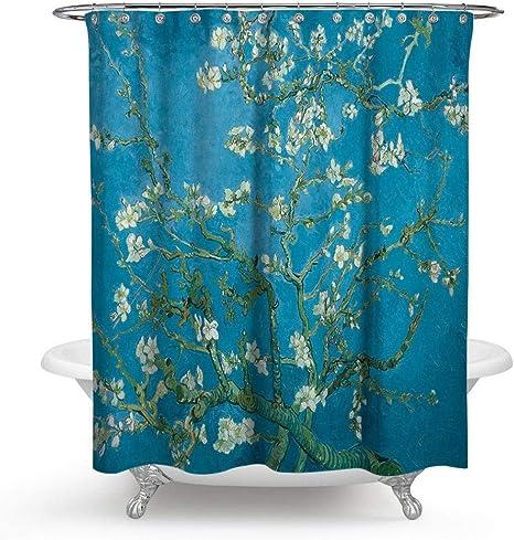 Frisch Cortina de ducha impermeable resistente al moho Van Gogh cortinas de baño resistente al moho cortina de baño para bañeras, Style-3, 1800x1800mm: Amazon.es: Hogar
