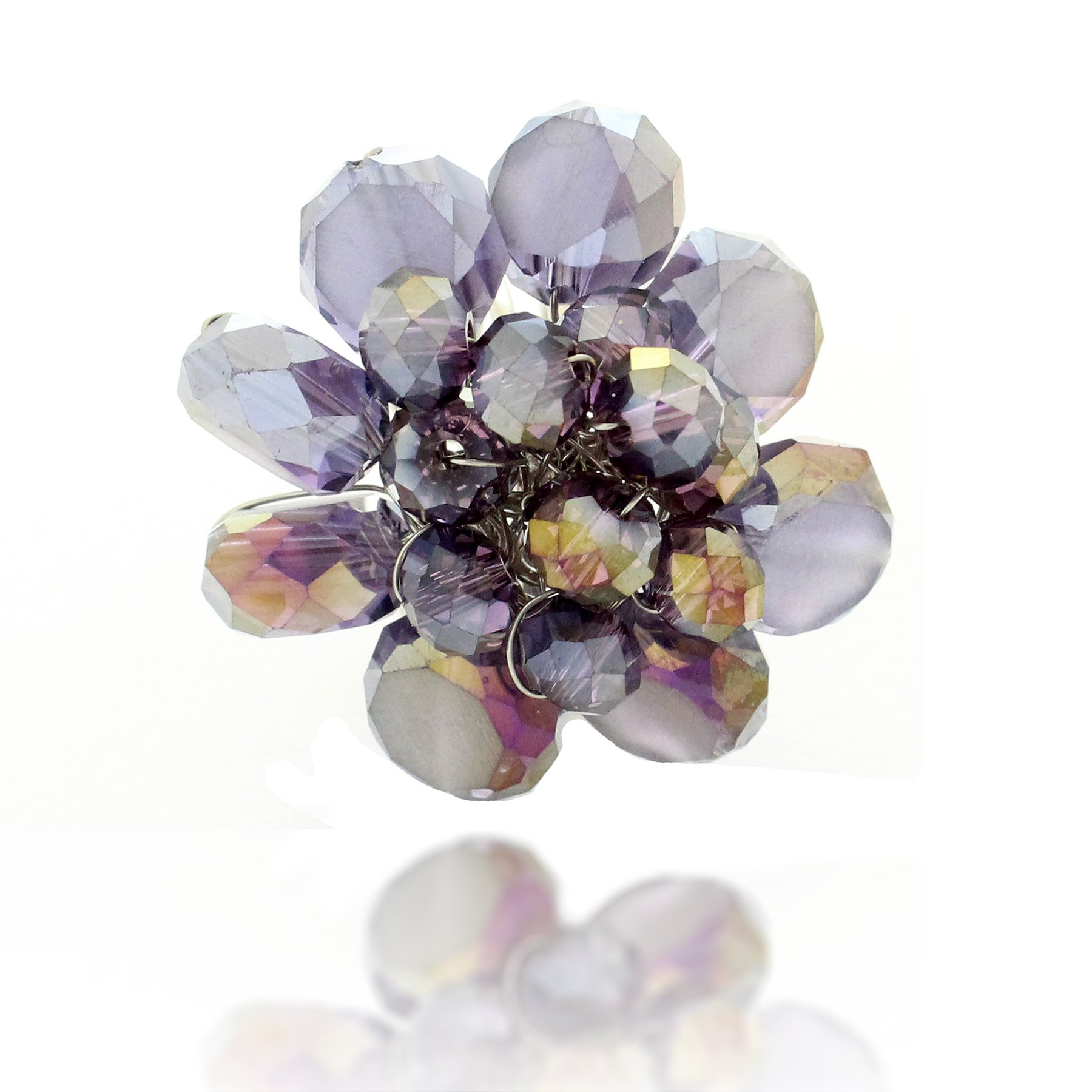 Chuvora Zinc Handwired Round Floral Purple Crystal Glass Beads Adjustable Ring