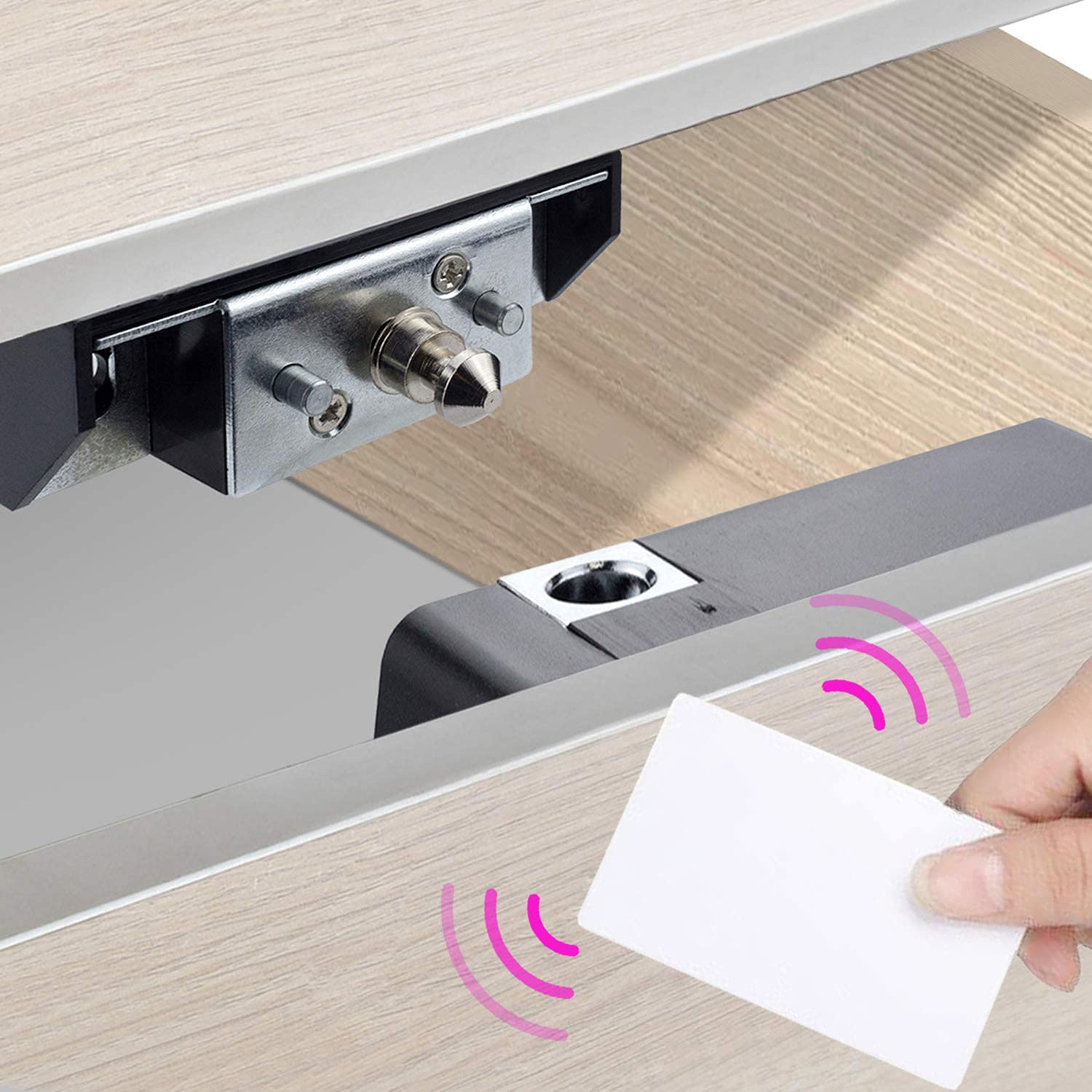 CODACE Electronic Hidden RFID Cabinet Drawer Lock, DIY Lock with RFID Card Fit for Wooden Cabinet Cupboard Pantry Shelf Doors