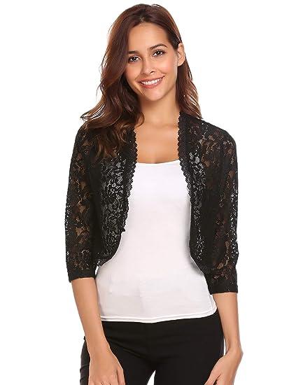 c5242f43300 Bifast Women Lace Sweater Long Sleeves Lace Crochet Bolero Crop Cardigan  Shrug Top Cardigan S-XXL