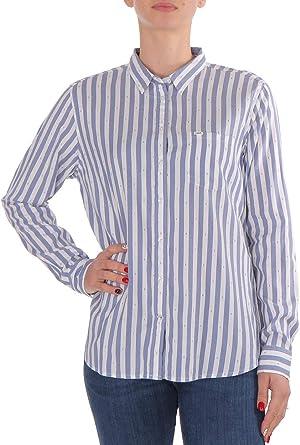 Lee Camisa de mujer con un bolsillo, color azul y blanco azul ...