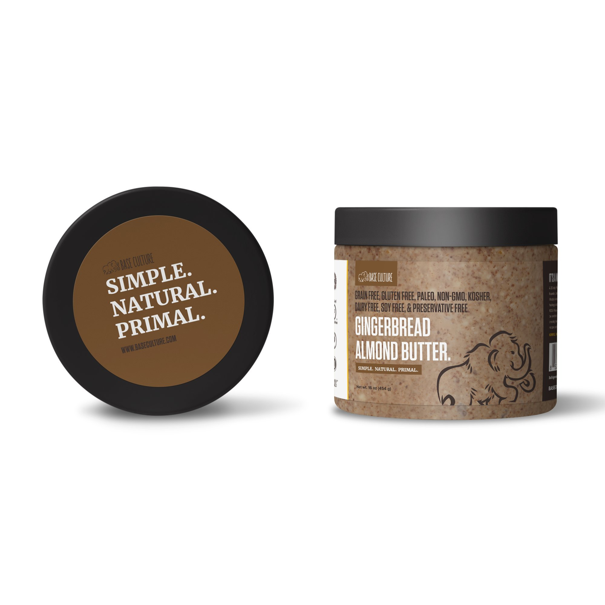 Paleo Almond Butter, Gingerbread Almond, 100% Paleo Certified, Gluten Free Almond Butter, 6g Protein Per Serving, Crafted by Base Culture (6 Count)