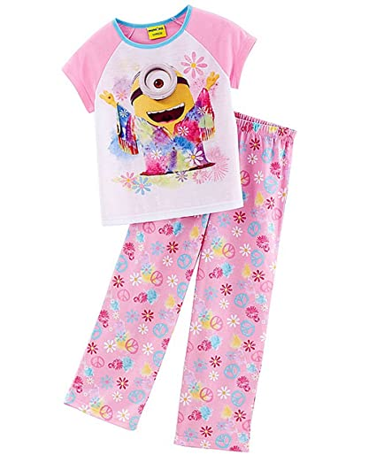 2f666f58b Amazon.com: DESPICABLE ME Girl's Size 6 Tie-Dye Hippie Minion Foral ...