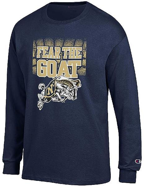 3ffe0eca55f7 Amazon.com : Navy Midshipmen Blue Champion Fear The Goat Long Sleeve ...