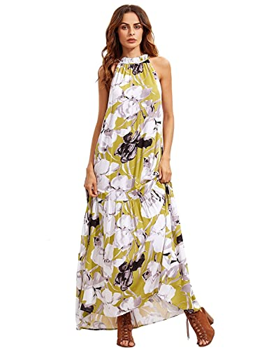 Floerns Women's Boho Loose Swing Summer Floral Maxi Dress