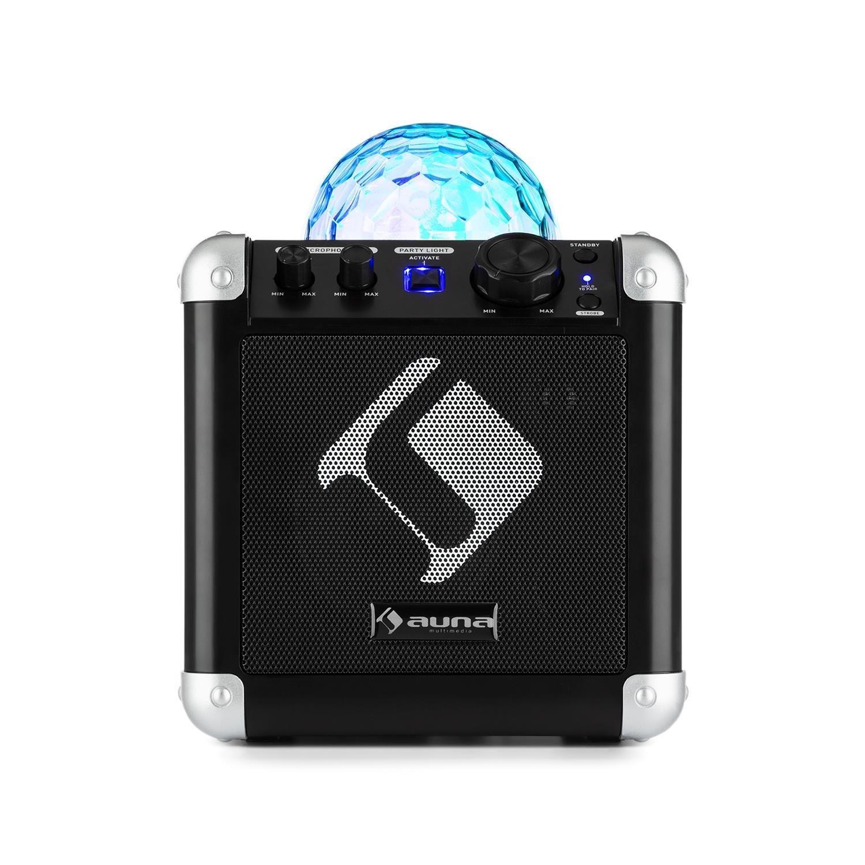auna BC-10 • Chaîne karaoké • Mini système son • 15 watts RMS de puissance • Interface Bluetooth • Batterie intégrée • Faible poids • Bandoulière • Woofer de 10 cm • Lumières de fête • Noir PAS3-1200-cyxd