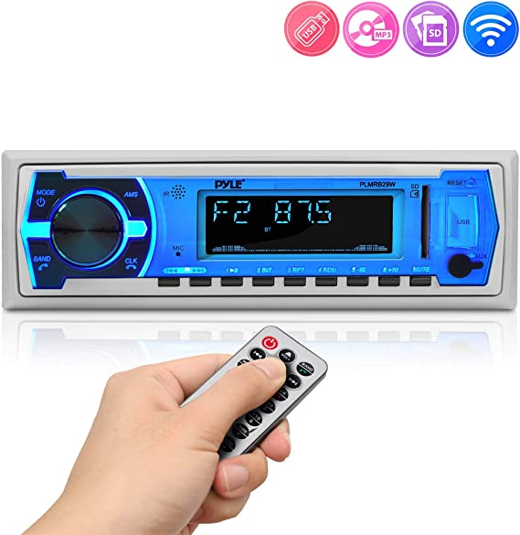 12v Single DIN Style Boat in Dash Radio ... Pyle Marine Bluetooth Stereo Radio