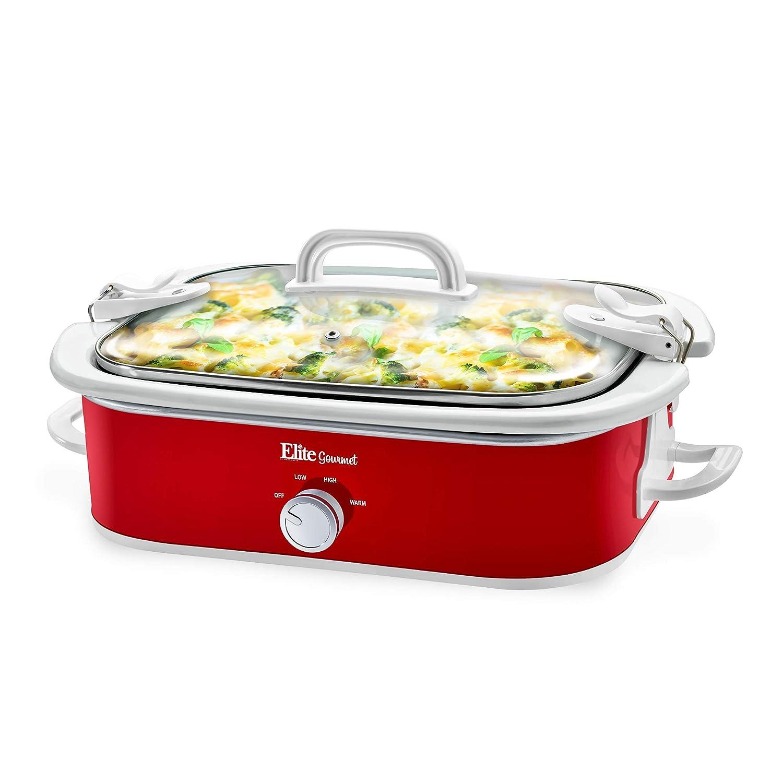 Elite Gourmet MST-5240 Casserole Slow Cooker, Locking Lid, Adjustable Temp, Keep Warm Dishwasher-Safe Glass Lid & Casserole Dish, 3.5QtCapacity 3.5Qt Capacity, Red