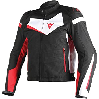 Dainese Veloster Tex Adult DuraTex Fabric Jacket, Black/White/Red, EUR-52/US-42