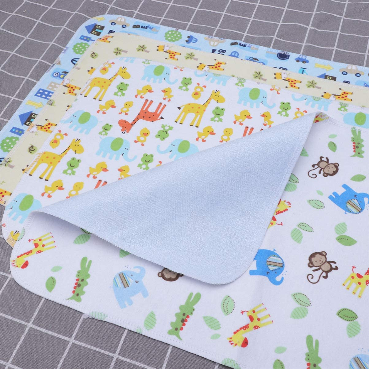 SUPVOX Borsa per pannolini per bambini 4 pezzi fasciatoio portatile lavabile modello animale lavabile impermeabile antiscivolo