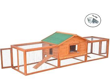 Conejera grande de madera para conejo, pollo, casa hábitat con rampa y libro electrónico FREE, 8-24 horas: Amazon.es: Jardín