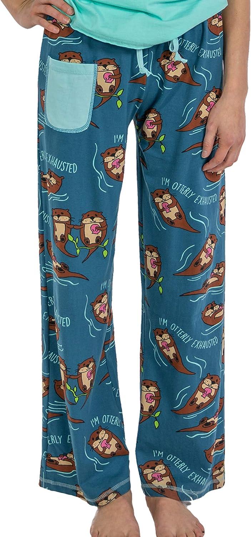 Lazy One WPP370 Womens Otterly Exhausted Blue Cotton Pajama Pyjama Pant