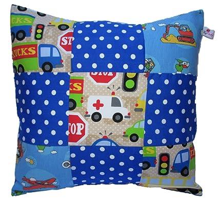 """Funda de almohada """"gato y conejo"""" 40 x 40 cm 100% algodón"""