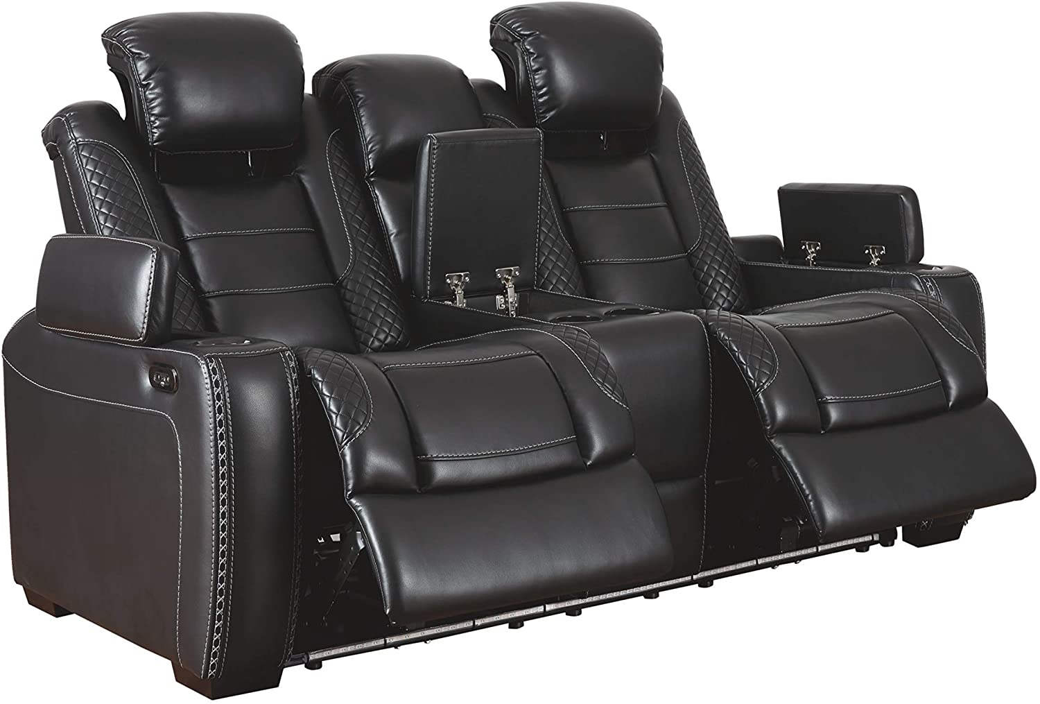 Signature Design by Ashley Party Time Power Reclining Loveseat Console Adjustable Headrest Midnight