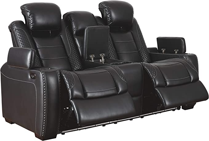 Signature Design by Ashley Party Time Leather Power Reclining Loveseat - Sports-Car-Like Seating