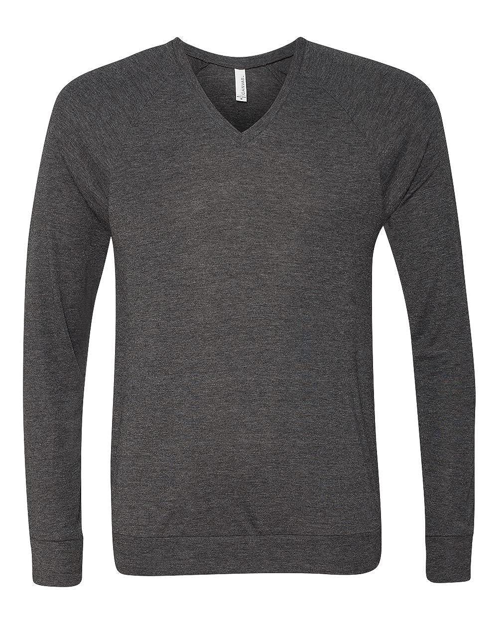 Bella Canvas Unisex V-Neck Lightweight SweaterM DK GREY HEATHER 3985