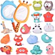 FUN LITTLE TOYS 18 PCs Baby Bath Toys with Soft Cute Ocean Animals Bath Squirters and Fishing Net, Water Toys for Kids, Birthday Gifts for Boys & Girls