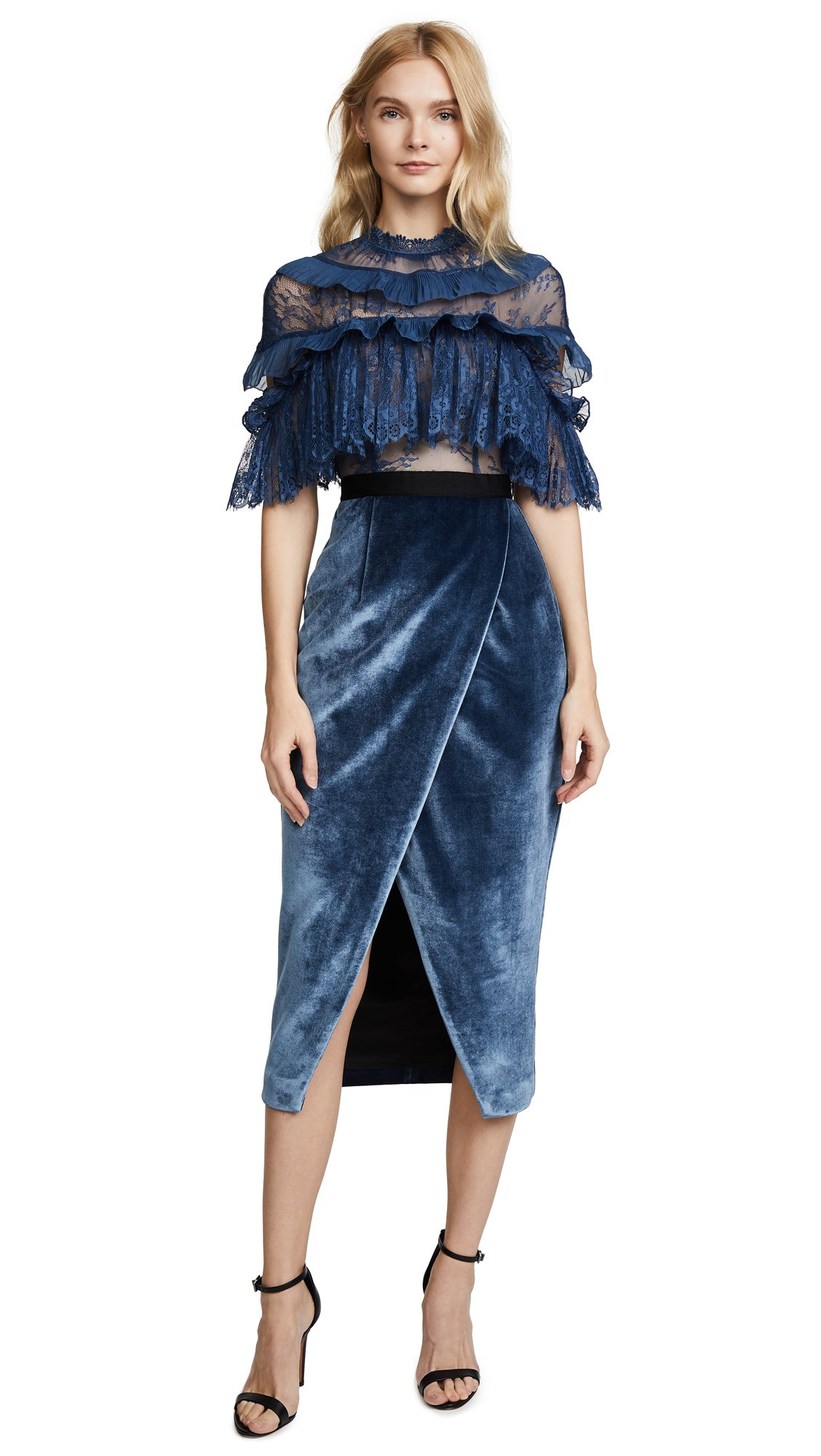 Self Portrait Women's Fine Lace Dress, Dusky Blue, 4
