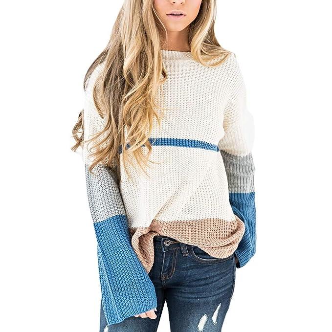 Cinnamou Jerséis Mujer con Cuello de Pico Color Sólido Abrigos de Mujer Invierno Primavera Camiseta y Blusa Tops Elegantes Suéter Mujer: Amazon.es: Ropa y ...
