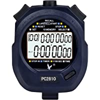 Digital Sport Stopwatch Timer with 2-Rows of 10 Memory Time Display Countdown Alarm