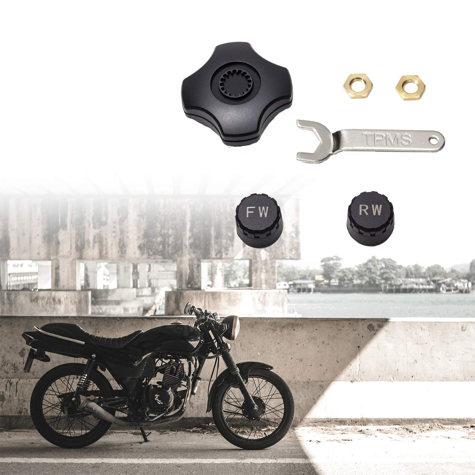 PA Motorcycle External TPMS Tire Pressure Monitoring System Scooter Mobile App Remote Control by PA