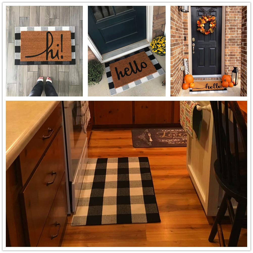 Buffalo Check Rug 23.6/'/'x35.4/'/' LongFor Outdoor Plaid Doormat for Kitchen//Bathroom//Laundry Room//Bedroom 23.6x35.4 Checkered Outdoor Rug 100/% Cotton Plaid Rugs Black and White Porch Rugs