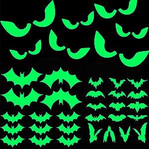 47Pcs Halloween Glow in The Dark Window Decals Luminous Stickers Glasses Stickers Bat Wall Stickers Night Glow Decals Halloween Theme Party Decoration