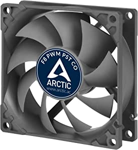 ARCTIC F8 PWM PST CO - 80 mm Case Fan with PWM Sharing Technology (PST), Dual Ball Bearing for Continuous Operation, Computer, Fan Speed: 300-2000 RPM