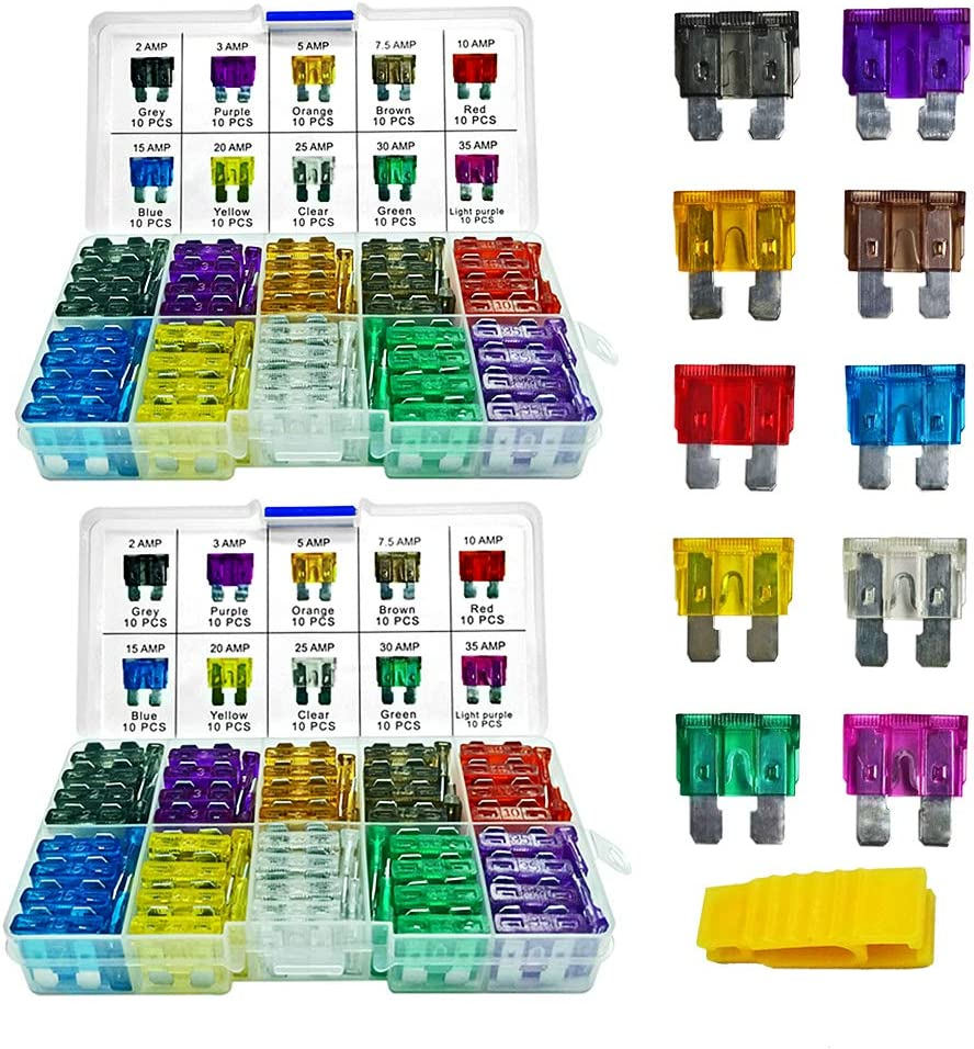 200 Pieces Blade Fuses- MuHize Standard Fuse (2A/3A/5A/7.5A/10A/15A/20A/25A/30A/35A) Replacement Car RV SUV Truck Camper Assorted Fuses