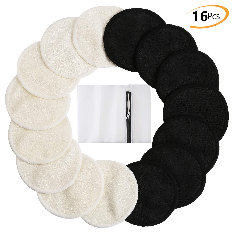 Tampons D/émaquillants En Bambou Nettoyage Lavable Du Visage-Blanc Noir Paquet De 16 Tampons En Coton Biologique R/éutilisables Avec Sac /À Lessive