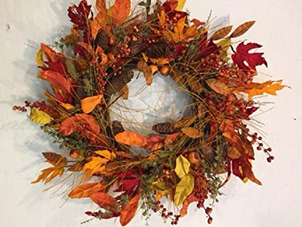 Fall Meadows 22 Inch Fall Wreath Autumn Decorative Wreath For Front Door Or  Indoor Seasonal Thanksgiving