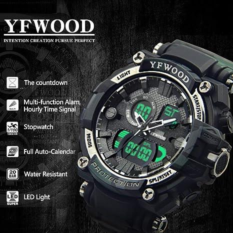 YFWOOD Deporte Reloj, LCD luz Trasera Hombres Camuflaje Redondo Gran Cara al Aire Libre Militar Alarma Cuarzo Reloj Deportivo Digital para niños ...