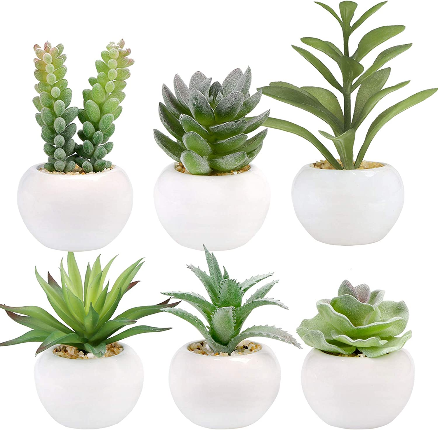Greentime Set of 6 Succulents Plants Artificial in Mini White Ceramic Pots,Small Fake Succulents Plants,Faux Indoor Succulent Plants for Windowsills,Bedroom,Desk,Bathroom,Office,Home Decoration