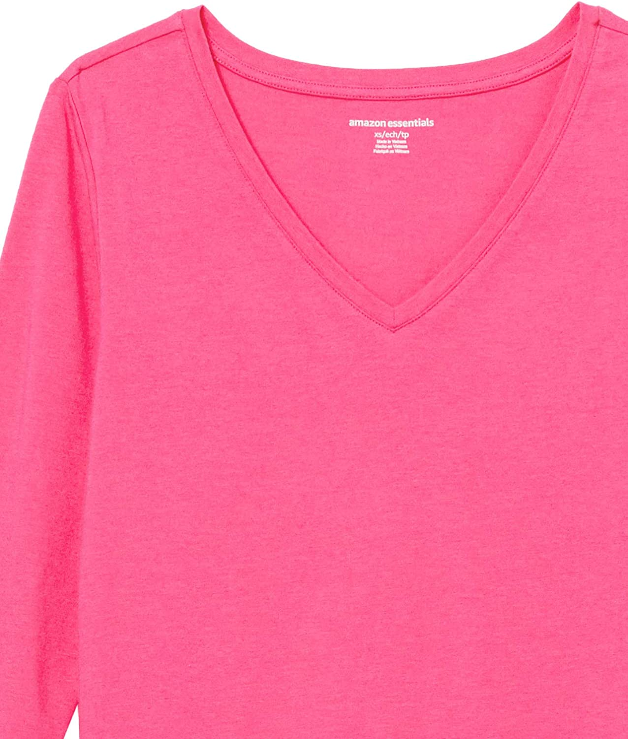 Essentials Women's Classic-Fit 3/4 Sleeve V-Neck T-Shirt: Clothing