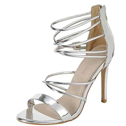865ec710d99 Forever Link Womens Open Toe Metallic Elastic Strappy Cage Stiletto High  Heel Pump Sandals 6.5 Silver