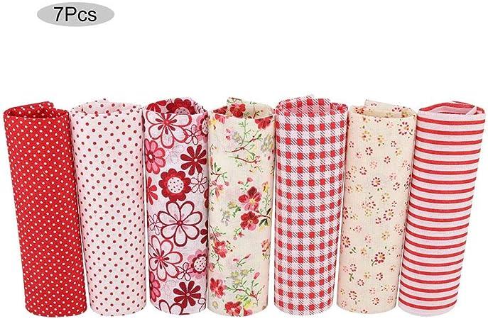 7 unids Tela de algodón Cuadrado de flores Pre-corte DIY Patchworks Tela Red Flower Series(02): Amazon.es: Hogar