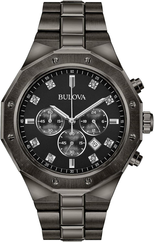 Bulova Men s Analog-Quartz Watch with Stainless-Steel Strap, Grey, 24 Model 98D142
