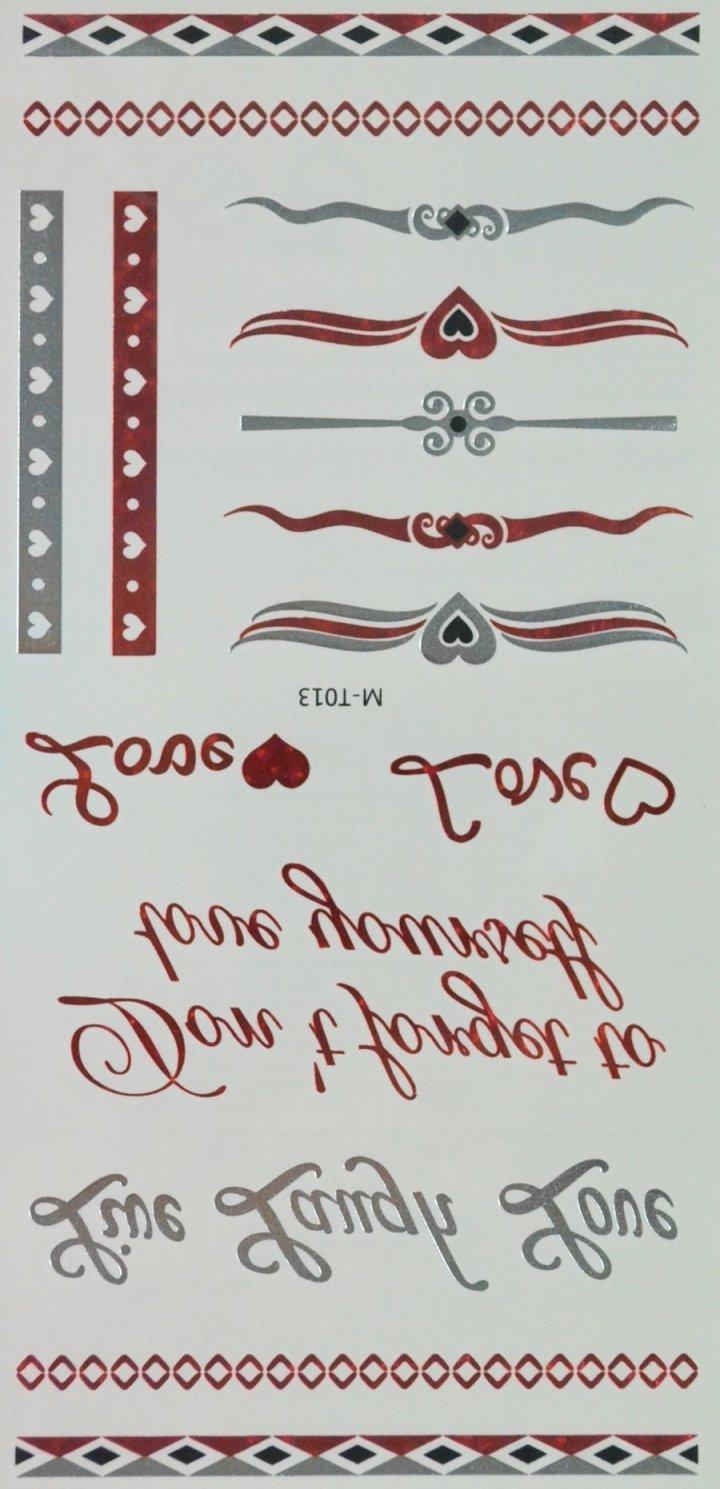 Rojo y plateado y negro Fake metálico joyería tatuajes temporales ...