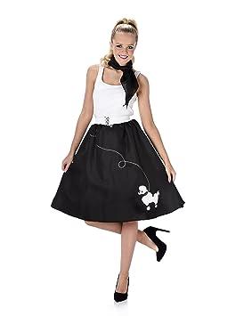 5dcd7e4c493a Black Poodle Skirt Ladies Fancy Dress 50s 60s Rock n Roll Womens Adults  Costume (Small