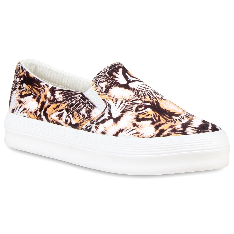 Stiefelparadies Damen Sneaker Slip Ons mit Plateau Glitzer Flandell  37 EU|Orange Muster