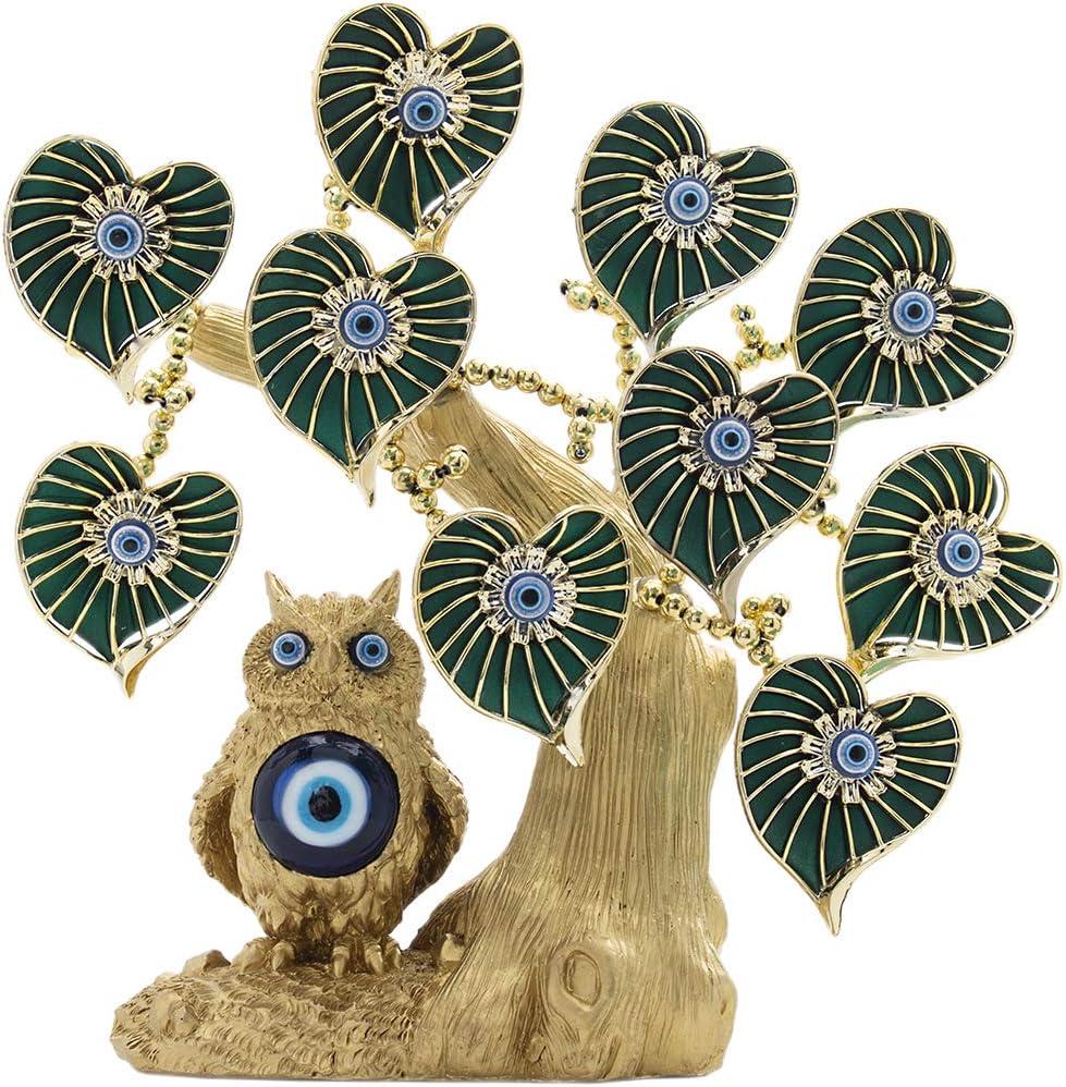 YU FENG Turco Azul Mal de Ojo Oro Árbol de la Fortuna con Búho Estatuilla Protección Buena Suerte Regalo