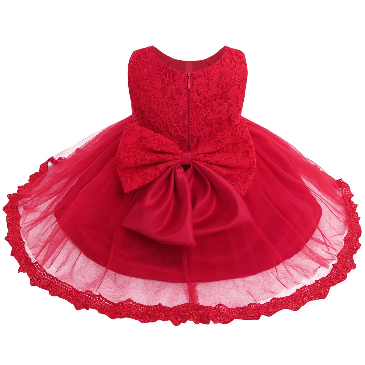 TiaoBug Baby Girls Flower Wedding Pageant Princess Bowknot Communion Party Dress Red(Lace) 6-9 Months