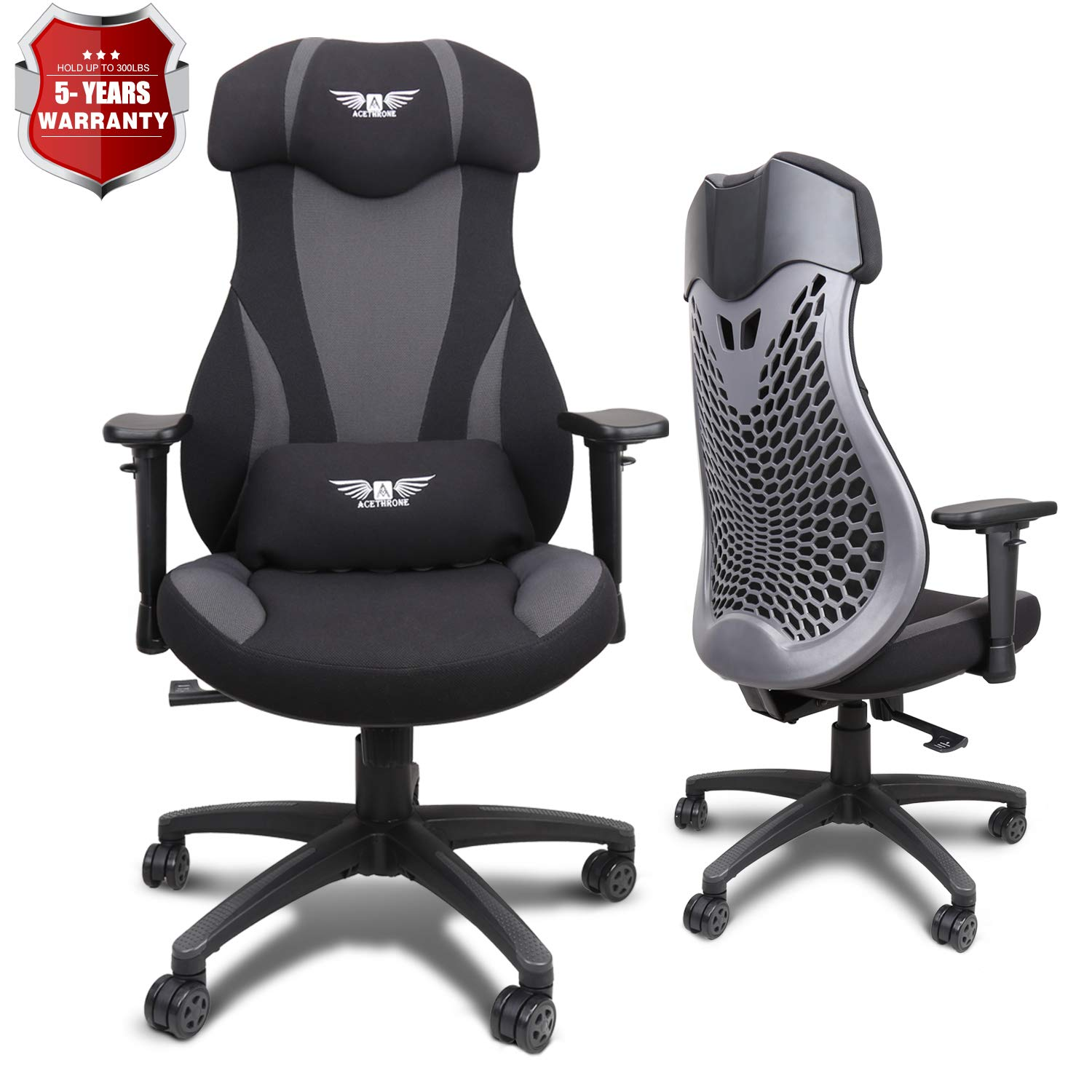 Acethrone PC Gaming Chair Ergonomic Office Chair Desk Chair with Lift Headrest and Armrests, Flexible Adjustable Height and Reclining Device by Acethrone