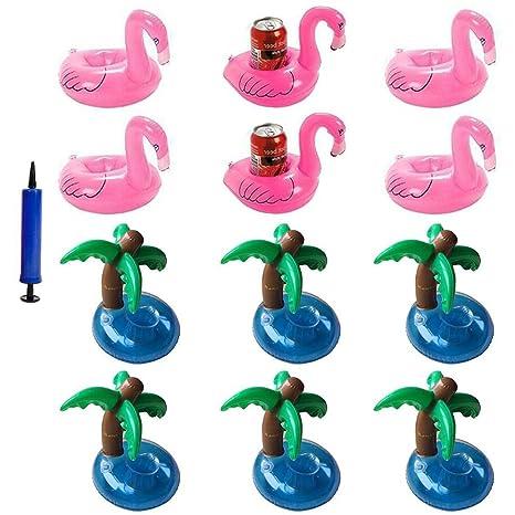 iLoveCos Flamenco Hinchable Flotador Posavasos con Palmera Titular de Bebida Pool Flotador Bebidas Decoraciones Juguetes de
