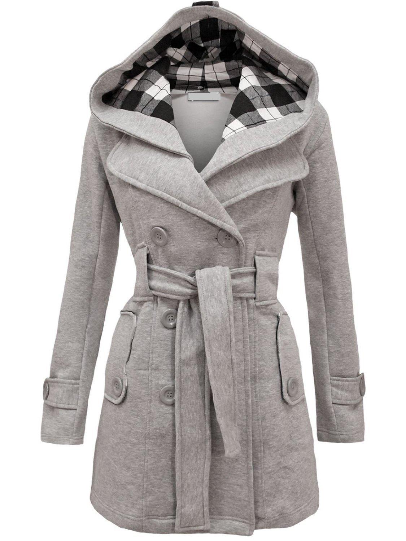 Noroze Womens Check Hood Plus Size Duffle Coat (4 (UK 8), Grey)