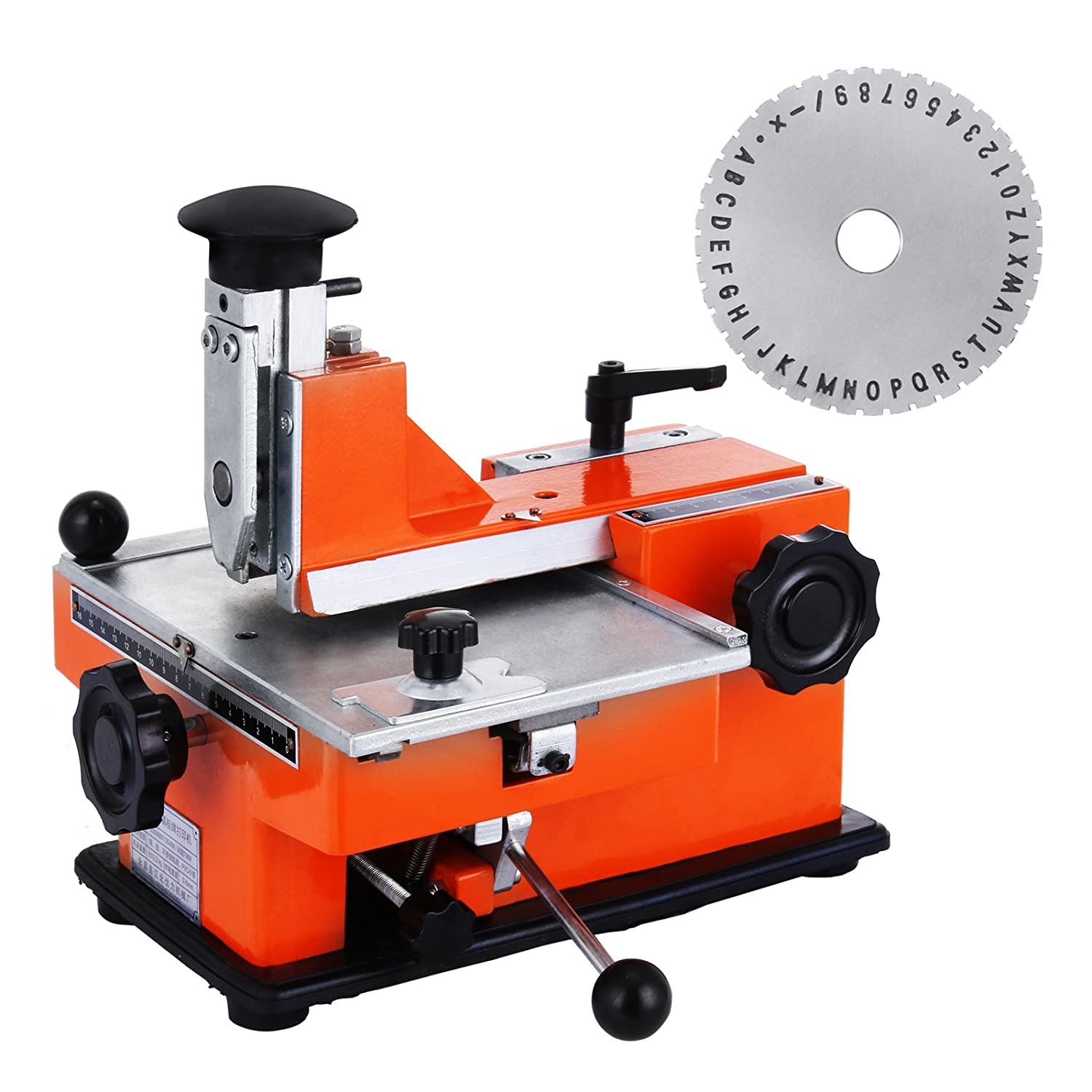 4mm Plate Happybuy Semi-Automatic Sheet Embosser 2~4 Characters per Second Metal Embosser Working Plate 7.85.3 Embossing Label Maker Machine with 4mm Aluminum Plate