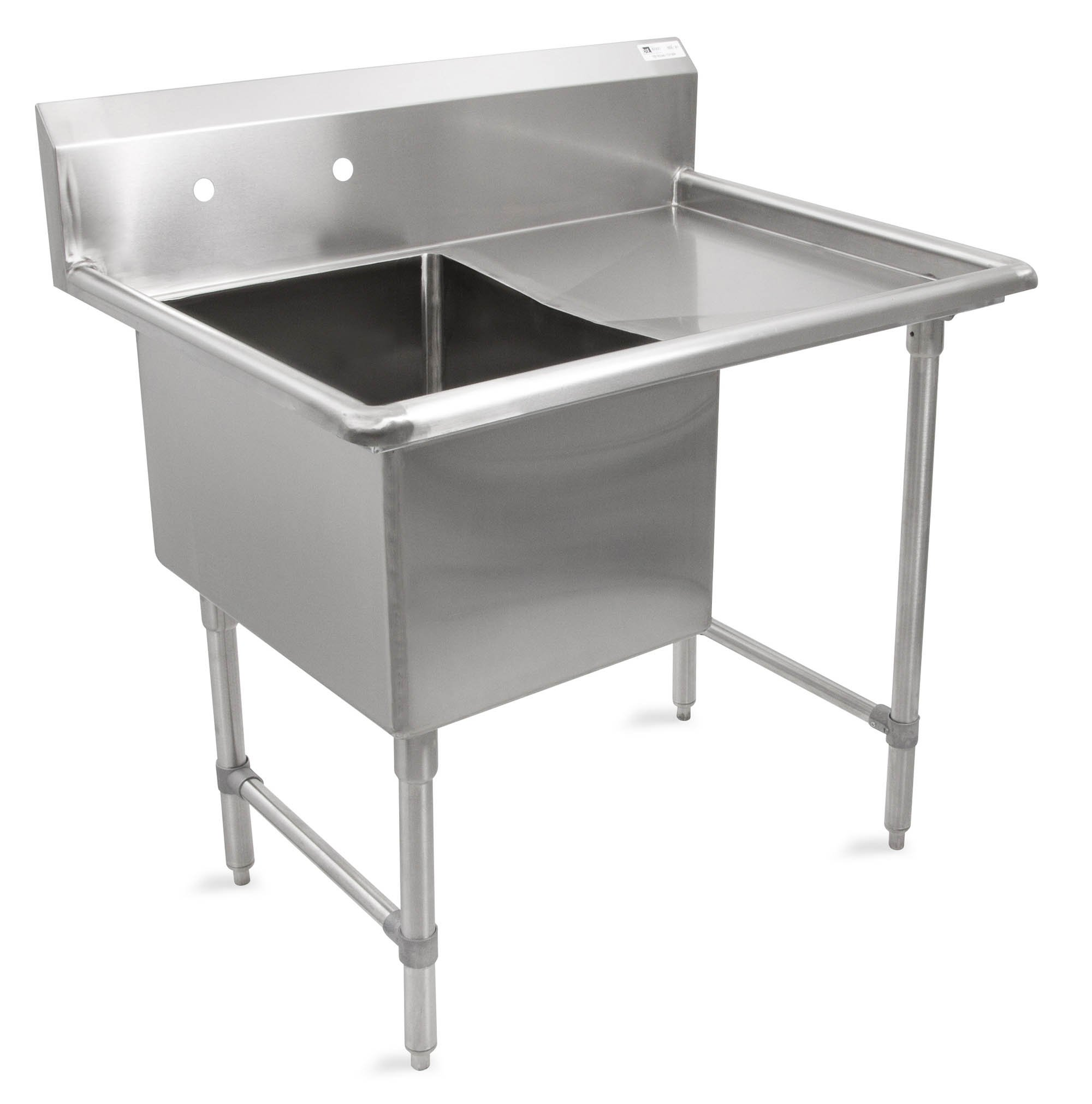 John Boos B Series Stainless Steel Sink, 14'' Deep Bowl, 1 Compartment, 24'' Right Hand Side Drainboard, 52'' Length x 29-1/2'' Width